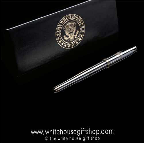 White House Seal Presidential  chrome and gold roller ball pen in presentation box from White House Gift Shop