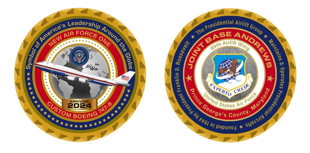 New Air Force 1 PLANE INTRODUCTORY CHALLENGE COIN, LIMITED EDITION, 2500  COINS, President Donald J  Trump's Air Force One, Numbered, Certificate of
