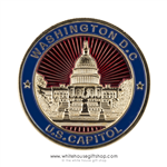 US Capitol Challenge Coin,custom made high grade copper alloy core coins, jewelry grade finishes, gold, red, and blue coins, from original official White House Gift Shop since 1946, upgraded plastic case with individual bag to protect each coin.