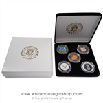 Military Challenge Coin Set, 5 coins, ARMY, NAVY, AIR FORCE, MARINES, COAST GUARD, custom velvet White House Seal coin display case, premium presentation gift box from official White House Gift Shop since 1946, started by the Secret Service of the USA.