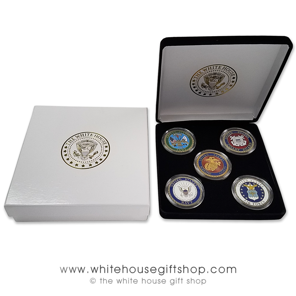 Complete Military Coin Set: Air Force, Army, Coast Guard, Navy, Marine  Corps, Pewter & Baked Enamels, 5 Coin Black Velvet Case, 2 Piece White  House