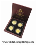 "Coins, The White House & United States Capitol Building, Great Seal on Reverse of Coins, 4 Coin Set, Wood Case, Front & Reverse of Coins are Displayed, 1.5"" Diameter, Gold Plated & Blue Enamels"