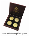 "Coins, Korea War Memorial, Vietnam War Memorial, WWII Memorial, & Gold Pentagon,  4 Coin Set, Wood Case, 1.5"" Diameter, Gold Plated"