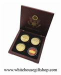 "Coins, Korea War Memorial, Vietnam War Memorial, WWII Memorial, & Red Pentagon, 4 Coin Set, Wood Case, 1.5"" Diameter, Gold Plated & Red Enamel, Dual Sided"