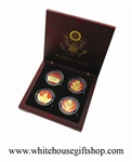 "Coins, The White House & United States Capitol Building,  Great Seal on Reverse of Coins, 4 Coin Set, Wood Case, Front & Reverse of Coins are Displayed, 1.5"" Diameter, Gold Plated & Red Enamels"