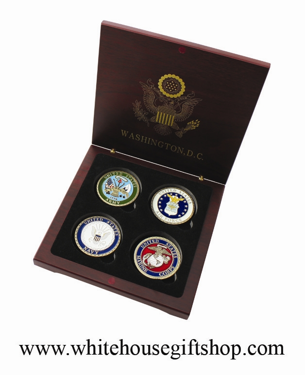 Military Coins, NOW IN VELVET CASE, United States Air Force, Army, Navy &  Marine Corps Set, 4 Challenge Coin Set, 1 5