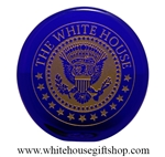 The White House Presidential Eagle Seal, Etched Glass Paperweight Desk Display, Cobalt Blue , 24k gold fill