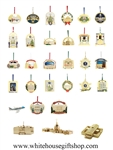 Complete Official White House Ornaments Collection from the White House Gift Shop. See also White House Historical Association Ornaments Available.