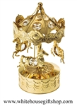 Gold Carousel Horses Music Box with Swarovski Crystals
