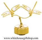 Gold Dragonfly Duo Music Box with Swarovski® Crystals