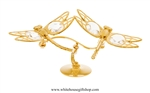 Gold Dragonfly Duo Table Top Display with Swarovski Crystals
