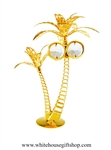 Gold Tropical Palm Tree Duo Table Top Display with Swarovski Crystals