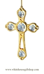 Gold Four Leaf Clover Cross Ornament with Swarovski® Crystals