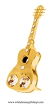 Gold Acoustic Guitar Ornament with Swarovski® Crystals