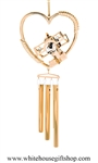 Gold Aeroplane Heart Chime Ornament with Swarovski® Crystals