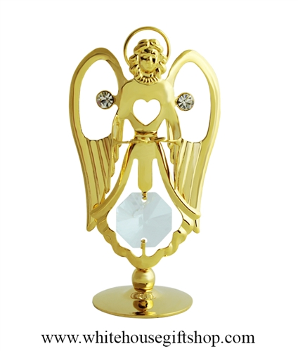 Gold Angel Holding a Bible Table Top Display with Swarovski® Crystals
