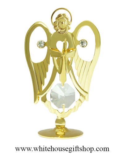 Gold Angel Holding a Candle Table Top Display with Swarovski® Crystals