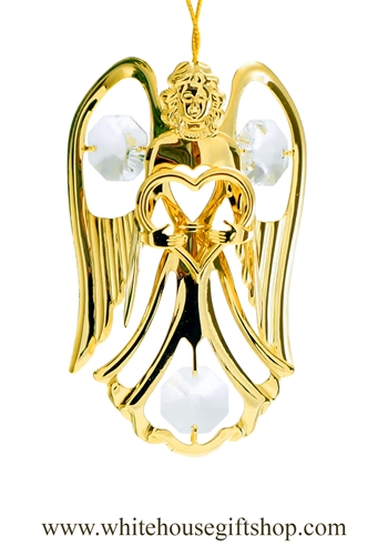 Gold Angel Holding A Heart Ornament with Swarovski® Crystals
