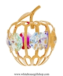 Gold Mini Apple Ornament with Light Pink, Aquamarine, Golden Yellow, Rose, Violet, & Rose Swarovski® Crystals