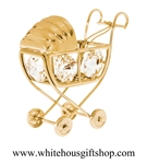 Gold Classic Baby Carriage Ornament