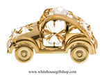 Gold Playful Beetle Bug Car Ornament with Swarovski Crystals
