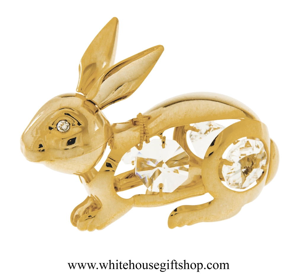 Gold swarovski crystal easter bunny rabbit handcrafted 24kt gold gold swarovski crystal easter bunny rabbit handcrafted 24kt gold plated on premium brass 325h x 225w hand assembled in usa gift box whc 0203 negle Gallery