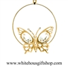 Gold Butterfly Circle Ornament with Swarovski® Crystals
