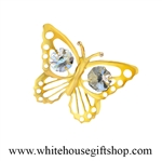 Gold Mini Butterfly Magnet/ Sun Catcher Window Cling with Swarovski® Crystals