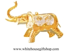 Gold Circus Elephant Ornament with Swarovski® Crystals
