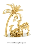 Gold Desert Camels with Palm Trees Mirror Base Table Top Display with Swarovski® Crystals