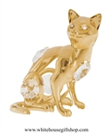 Gold Seated Cat Ornament with Swarovski® Crystals