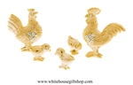 Gold Chicken Family Table Top Collection with Swarovski® Crystals