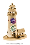 Gold Lighthouse & Cottage Desk Model with Violet & Mint Green Swarovski Crystals