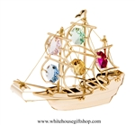 Gold Colored Mayflower Ornament with Mint Green, Light Pink, Rose, Sky Blue, & Golden Yellow Swarovski® Crystals