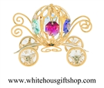 Gold Colored Pumpkin Carriage Ornament