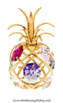 Gold Colored Pineapple Ornament with Sky Blue, Rose, Mint Green, Violet, Light Pink, Clear, & Golden Yellow Swarovski® Crystals