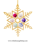 Gold Colored Dendrite Snowflake Ornament with Rose, Violet, Sky Blue, Mint Green, Clear, & Light Pink Swarovski® Crystals