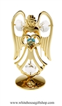 Gold Guardian Angel Birthstone Collection: December with Zircon Light Blue Colored & Clear Swarovski® Crystals