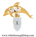 Gold  Playful Dolphin Nightlight with Swarovski® Crystals