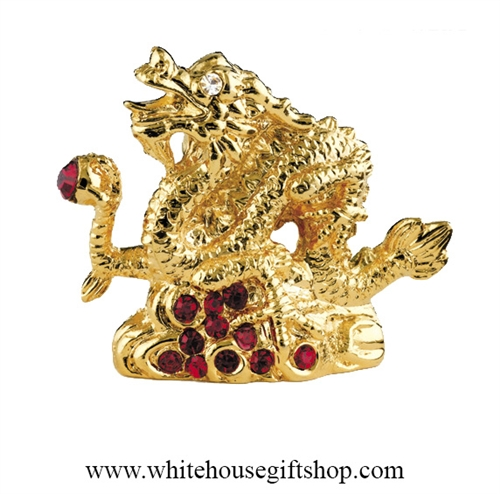 Gold Chinese Zodiac Year of the Dragon Table Top Display with Ruby Red Swarovski® Crystals