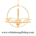 Gold Dragonfly Circle Ornament