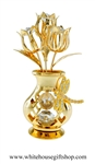 Gold Dragonfly Vase of Tulips Table Top Display with Swarovski® Crystals