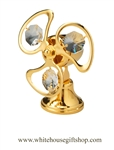 Gold Classic Electric Fan Ornament with Swarovski® Crystals