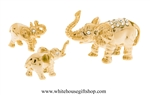 Gold Elephant Family Table Top Collection with Swarovski® Crystals