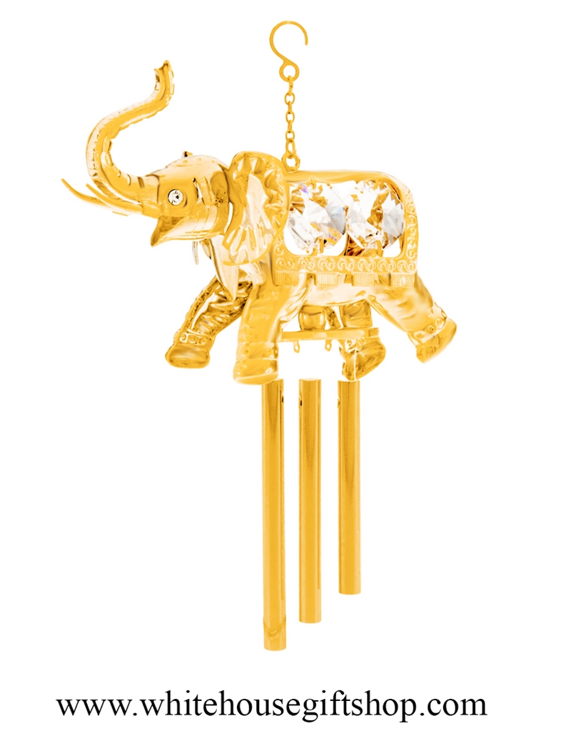 Wind Chimes Or Ornament Gold Circus Elephant With Wind