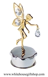 Gold Fairy Holding a Crystal Jewelry Box with Swarovski® Crystals