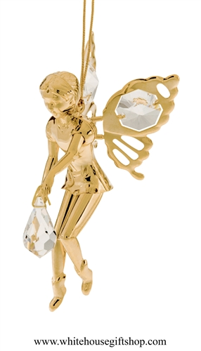 Gold Fairy Holding A Crystal Ornament with Swarovski® Crystals
