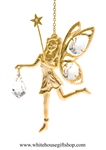 Gold Fairy With Star Wand Ornament with Swarovski® Crystals