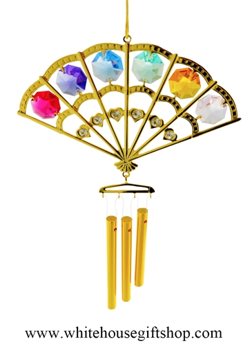 Crystal Gold Folding Fan chime Ornament with Rose Pink, Violet Purple, Sky Blue, Mint Green, Amber Yellow, & Light Pink Swarovski® Crystals