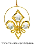 Gold Fleur De Lis (French Lily) Ornament Swarovski Crystals